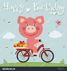 happy birthday funny pig on bike stock vector 551968264 shutterstock
