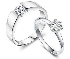 Promise Ring Engagement Ring And Wedding Ring Set by Sterling Silver Matching Promise Rings For Couples With Endless