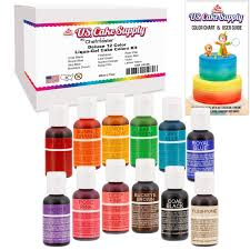 amazon com 12 color cake food coloring liqua gel decorating