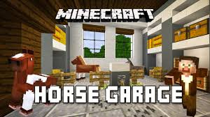 minecraft tutorial how to make a horse garage with piston door