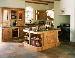 brown wooden kitchen island with shelves and storage combined with