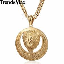 knot pendant necklace images Men chain gold tone curb cuban lion celtic knot pendant stainless jpg