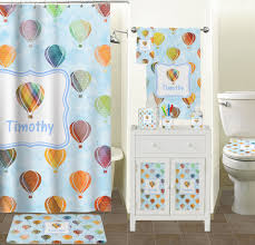 watercolor air balloons bathroom accessories set personalized