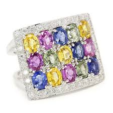 color sapphire rings images Multi color sapphire cluster ring with diamonds in 18kt white gold jpg