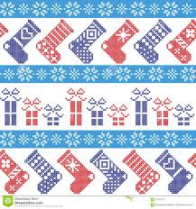 dark blue light blue and red nordic christmas pattern with