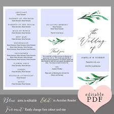 order of wedding program z fold or trifold wedding program order of service connie joan