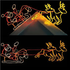 animated led santa sleigh reindeer silhouette for rooftop