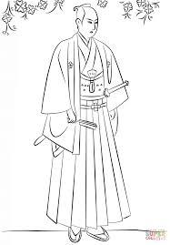 japanese samurai in hakama coloring page free printable coloring