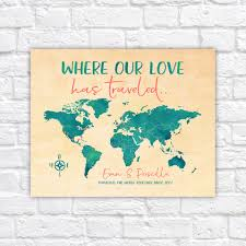 Push Pin Map Where Our Love Has Traveled Personalized World Map Of Travels