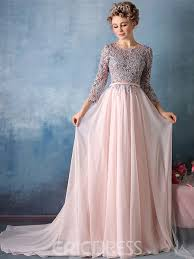 evening gown ericdress 3 4 sleeve applique chiffon a line evening dress