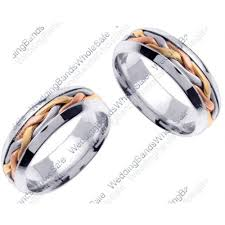 color wedding rings images 950 platinum and 18k gold 7mm handmade tri color braid his and hers we jpg