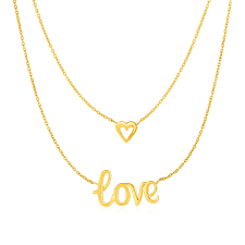 gold love necklace images Buy two part love and heart necklace in 10k yellow gold at daisy jpg