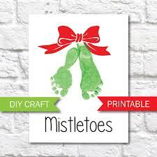 mistletoes footprint printable template christmas diy craft