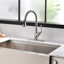 kitchen cabinet sink faucets single handle stainless steel brushed nickel pull kitchen sink faucet