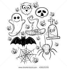 halloween elements black white vector stock vector 316602851