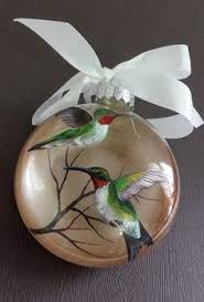 hummingbird christmas ornament hand painted red and green holidays