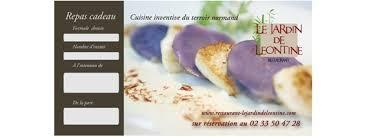 cadeau de cuisine offrir un bon repas cadeau menu restaurant le jardin de leontine
