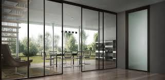 full exterior glass sliding door for open home office design with