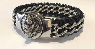 braided steel bracelet images Braided steel and leather fenrir wolf bracelet b016 viking merch jpeg