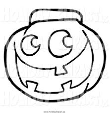 holiday clip art of a black and white happy jack o lantern pumpkin