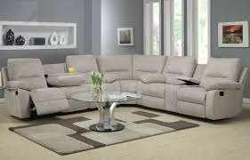 Sectional Recliner Sofa With Cup Holders Homelegance Marianna 3 Sectional In Grey