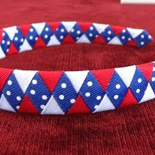 white and blue headband artfire markets