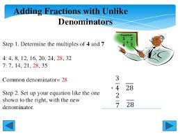 adding fractions with unlike denominators how to add and multiply fractions