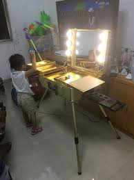 rolling makeup case with lighted mirror rolling studio makeup artist cosmetic w light mirror case train