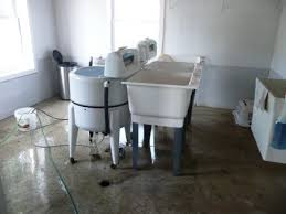 inside an amish home washing machine and basement