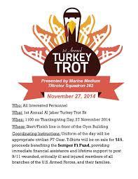 thanksgiving day turkey trot 1st annual al jaber turkey trot 5k semper fi fund