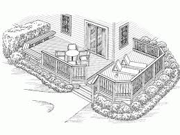 wrap around deck plans eplans deck plan an l shaped bench accents one side of this