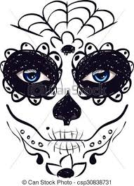 day of dead sugar skull with up