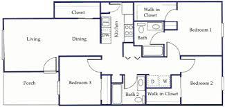 three bedroom flat floor plan monticello apartments floor plans