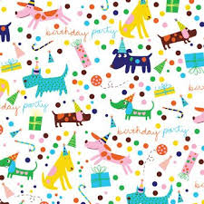flat wrapping paper barkday dog birthday party gift wrap flat sheet 24 x