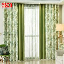 natural leaves cotton curtains for living room bedroom drapes