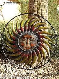 metal sun wall decor flower rustic garden art indoor outdoor patio