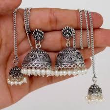 jhumka earrings with chain indian ethnic oxidised silver tone chain jhumka