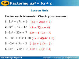 factoring trinomials of the form ax2 bx c worksheet worksheets