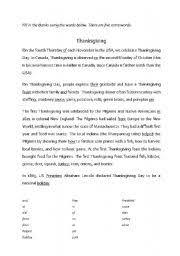 teaching worksheets thanksgiving day