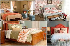 handsome kid blue and orange bedroom decoration using patterned