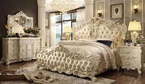 Pc Queen Elizabeth Renaissance Style Antique White King Bedroom - White tufted leather bedroom set