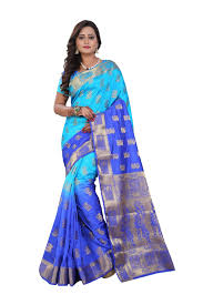 banarasi silk sky blue and navy blue color saree with fancy blouse