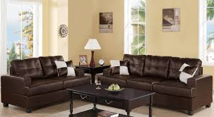 Bonded Leather Sofa Poundex F7577 2 Pcs Espresso Bonded Leather Sofa And Loveseat Set