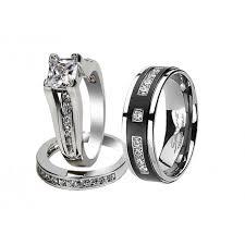 matching titanium wedding bands his hers black titanium 9 czs matching band pretty women princess
