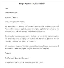 Decline Letter For 29 Rejection Letters Template Hr Templates Free Premium