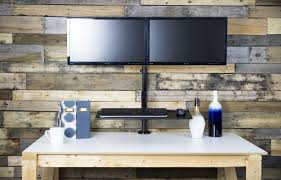 Sit Stand Desk Mount by Vivo Stand Sit2 Vivo Dual Monitor Gas Spring Sit Stand Desk Mount