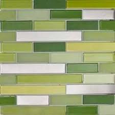 glass tile backsplash green tones blue tones beige brown tones