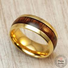Hawaiian Wedding Rings by Stainless Steel Ring With Koa Wood Inlay Hawaiian Wedding Rings