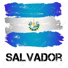 Latin Country Flags Flag Of Salvador From Brush Strokes In Grunge Style Isolated