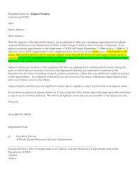 sample cover letter for adjunct instructor sourcing executive